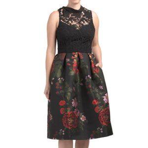 HUTCH floral jacquard black lace midi tea dress 12